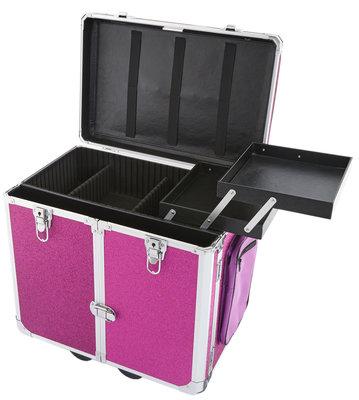 Pedicure koffer paars/roze glitter